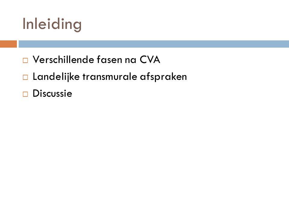 Inleiding  Verschillende fasen na CVA  Landelijke transmurale afspraken  Discussie