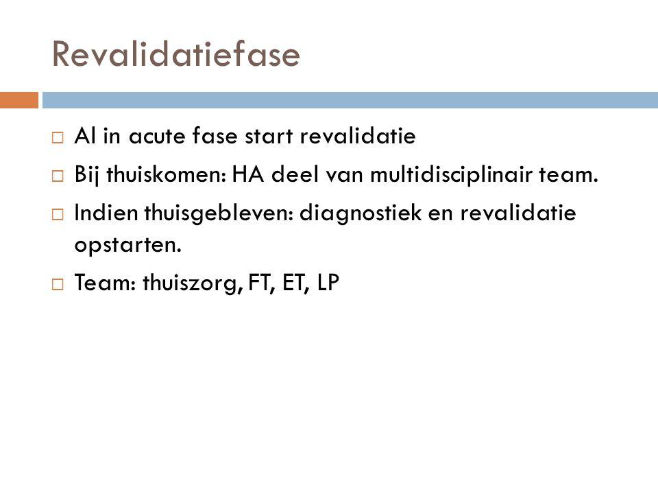 Revalidatiefase  Al in acute fase start revalidatie  Bij thuiskomen: HA deel van multidisciplinair team.  Indien thuisgebleven: diagnostiek en reva