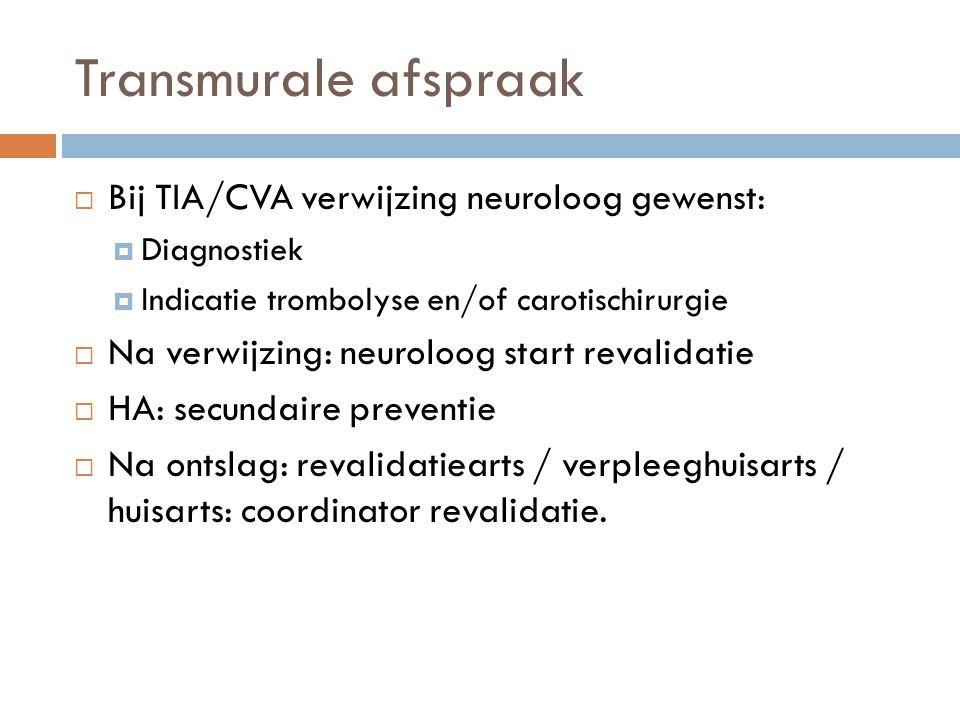 Transmurale afspraak  Bij TIA/CVA verwijzing neuroloog gewenst:  Diagnostiek  Indicatie trombolyse en/of carotischirurgie  Na verwijzing: neuroloo