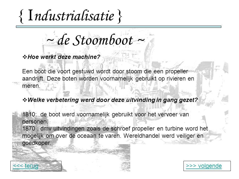{ I ndustrialisatie } ~ de Stoomboot ~ >>> volgende<<< terug  Hoe werkt deze machine.