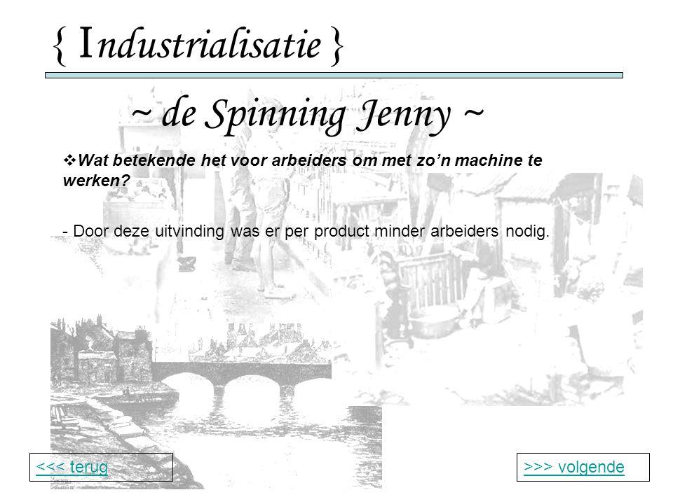 { I ndustrialisatie } ~ de Spinning Jenny ~ >>> volgende<<< terug  Wat betekende het voor arbeiders om met zo'n machine te werken.