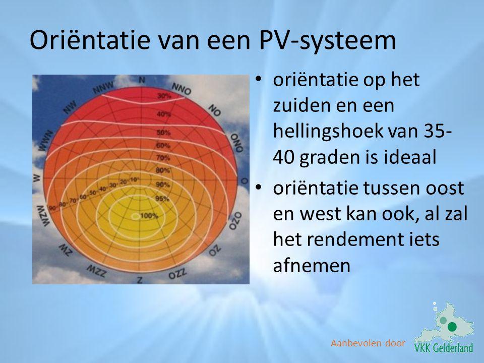 Aanbevolen door Oriëntatie van een PV-systeem • oriëntatie op het zuiden en een hellingshoek van 35- 40 graden is ideaal • oriëntatie tussen oost en w