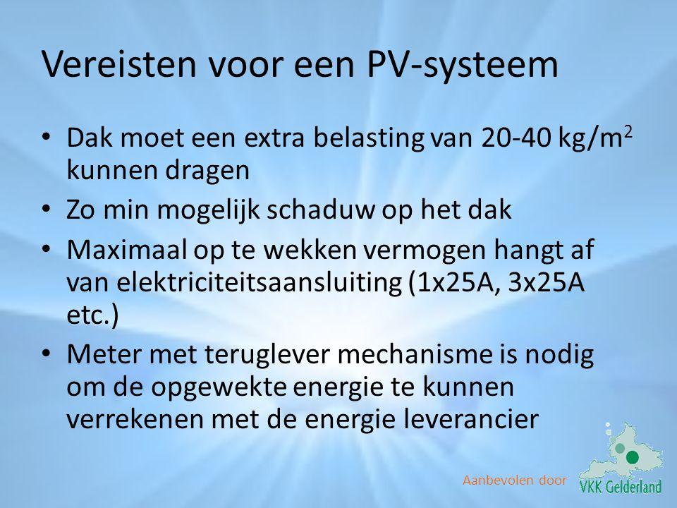 Aanbevolen door Vereisten voor een PV-systeem • Dak moet een extra belasting van 20-40 kg/m 2 kunnen dragen • Zo min mogelijk schaduw op het dak • Max