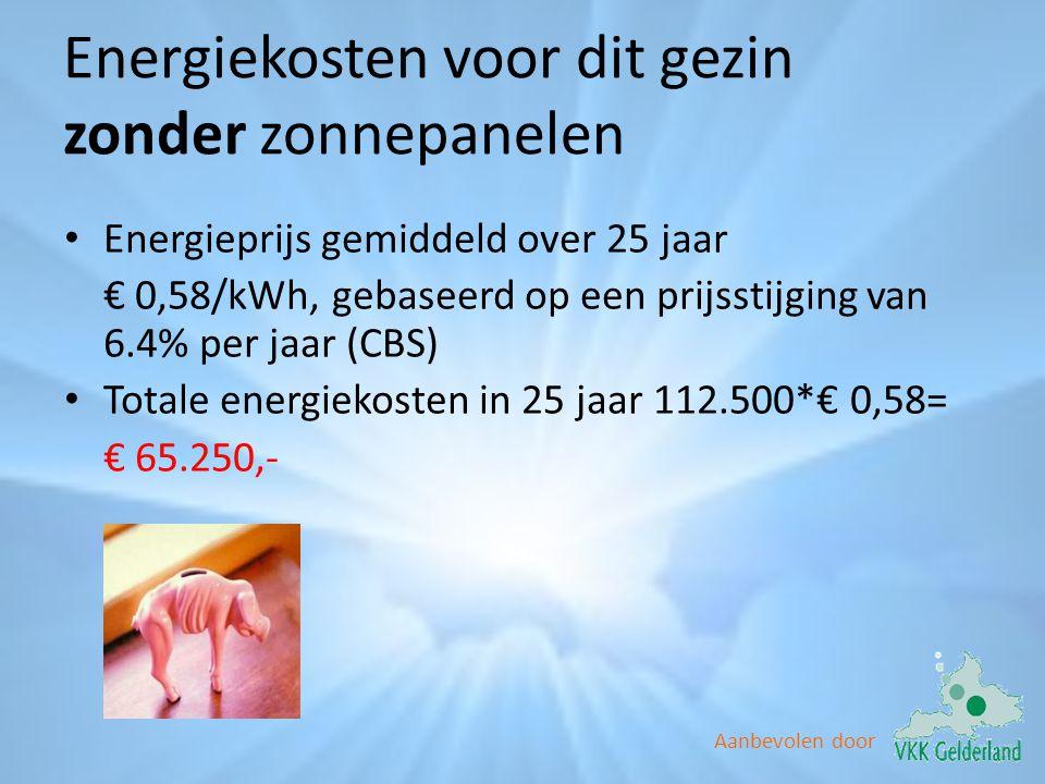 Aanbevolen door Energiekosten voor dit gezin zonder zonnepanelen • Energieprijs gemiddeld over 25 jaar € 0,58/kWh, gebaseerd op een prijsstijging van