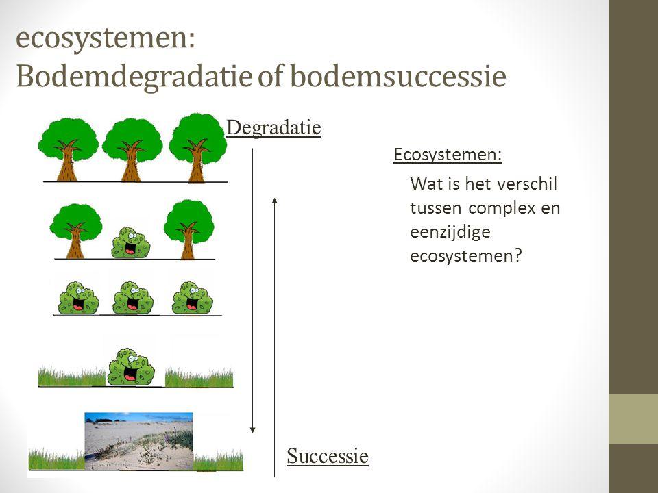 Bodemdegradatie of bodemsuccessie 2 • Complex ecosysteem: Stabiel evenwicht (v/d natuur) met een zeer hoge diversiteit aan planten- en diersoorten • Eenzijdig ecosysteem: Stabiel evenwicht (v/d natuur) met een lage diversiteit aan planten- en diersoorten • Wanneer spreek je van een grote of kleine diversiteit.