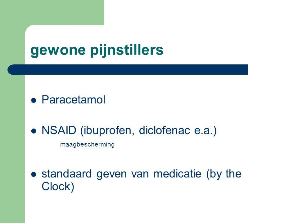 gewone pijnstillers  Paracetamol  NSAID (ibuprofen, diclofenac e.a.) maagbescherming  standaard geven van medicatie (by the Clock)