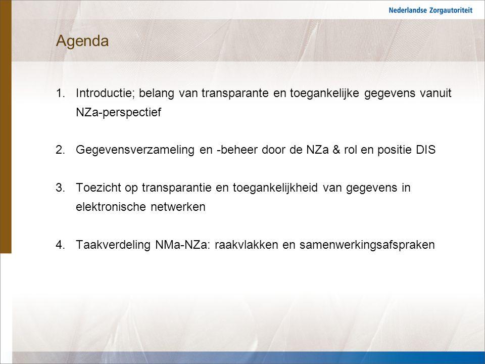 3 1.Introductie Belang van transparante en toegankelijke gegevens vanuit NZa-perspectief: 1.(de)regulerings- en marktwerkingsvraagstukken 2.monitoring, benchmarking en best practices 3.faciliteren van verzekeraars in hun rol van zorginkopers 4.accountability zorgaanbieders en verzekeraars Het belang van transparante en toegankelijke gegevens neemt ook toe gelet op de marktontwikkelingen (Bestuurlijk hoofdlijnenakkoord 2012-2015).