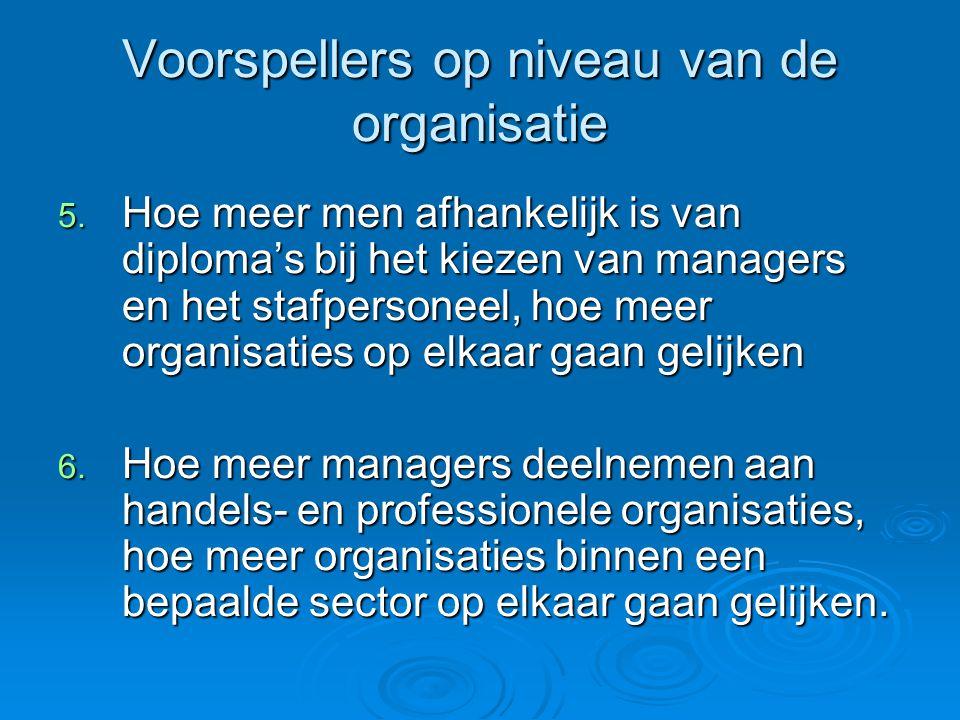 Voorspellers op niveau van de organisatie 5. Hoe meer men afhankelijk is van diploma's bij het kiezen van managers en het stafpersoneel, hoe meer orga