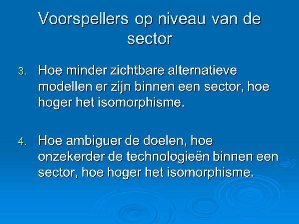 Voorspellers op niveau van de sector 3. Hoe minder zichtbare alternatieve modellen er zijn binnen een sector, hoe hoger het isomorphisme. 4. Hoe ambig