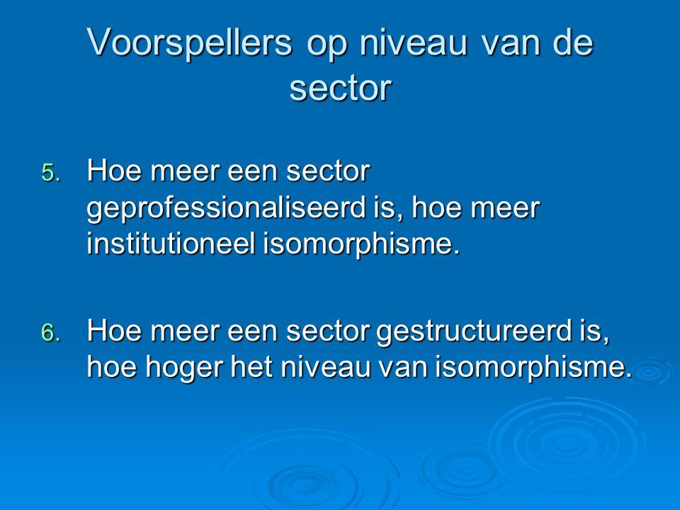 Voorspellers op niveau van de sector 5. Hoe meer een sector geprofessionaliseerd is, hoe meer institutioneel isomorphisme. 6. Hoe meer een sector gest
