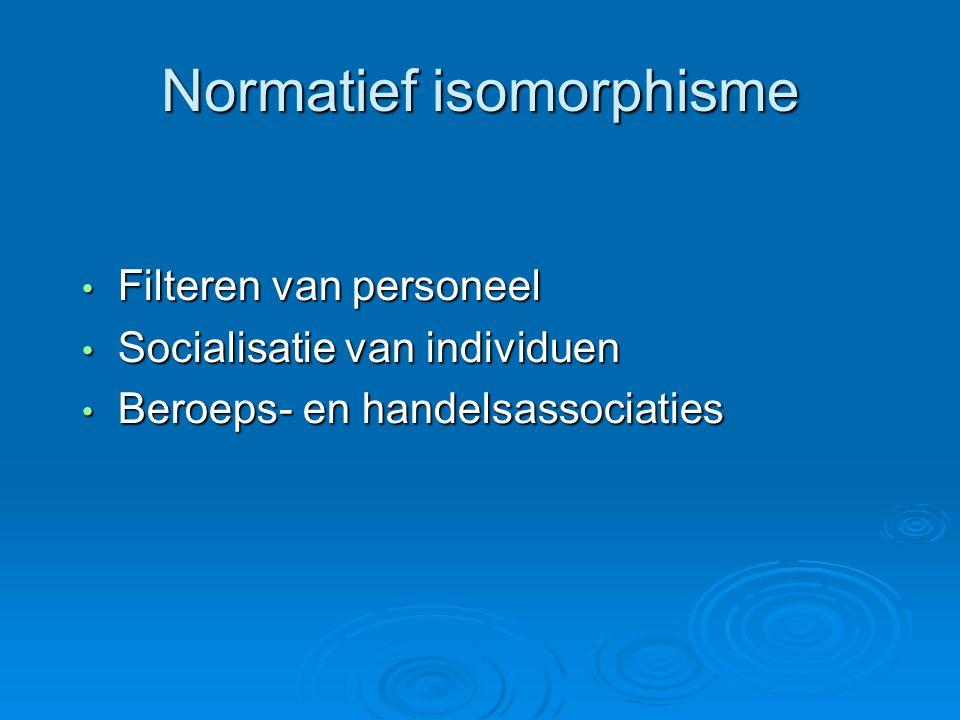 Normatief isomorphisme • Filteren van personeel • Socialisatie van individuen • Beroeps- en handelsassociaties