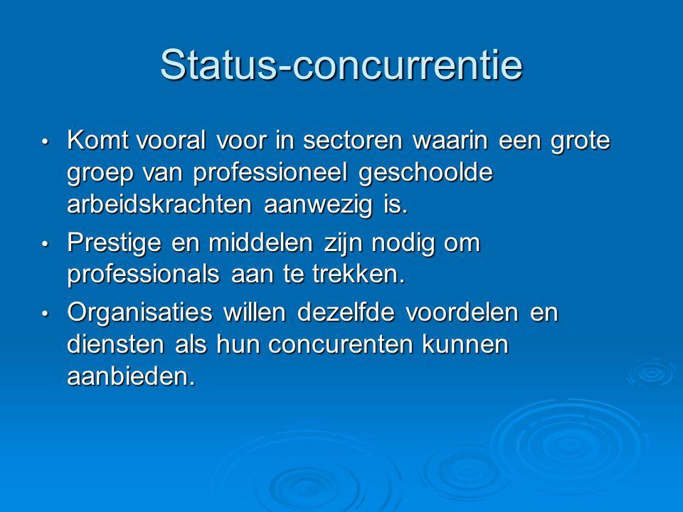 Status-concurrentie • Komt vooral voor in sectoren waarin een grote groep van professioneel geschoolde arbeidskrachten aanwezig is. • Prestige en midd