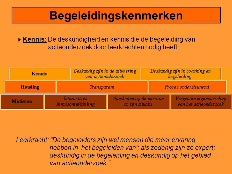 Begeleidingskenmerken  Kennis: De deskundigheid en kennis die de begeleiding van actieonderzoek door leerkrachten nodig heeft.
