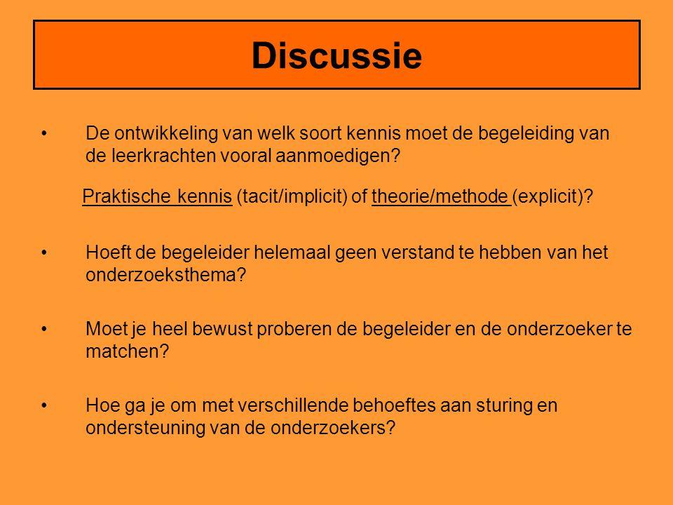 Discussie •De ontwikkeling van welk soort kennis moet de begeleiding van de leerkrachten vooral aanmoedigen.