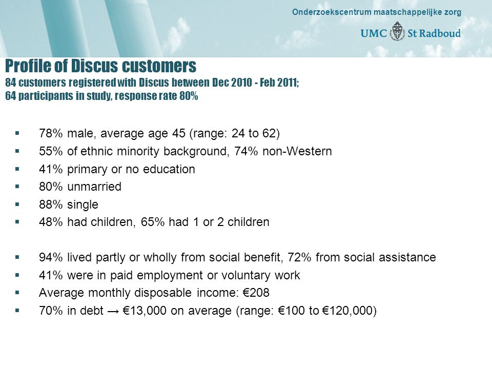 Onderzoekscentrum maatschappelijke zorg gedreven door kennis, bewogen door mensen Onderzoekscentrum maatschappelijke zorg Profile of Discus customers 84 customers registered with Discus between Dec 2010 - Feb 2011; 64 participants in study, response rate 80%  78% male, average age 45 (range: 24 to 62)  55% of ethnic minority background, 74% non-Western  41% primary or no education  80% unmarried  88% single  48% had children, 65% had 1 or 2 children  94% lived partly or wholly from social benefit, 72% from social assistance  41% were in paid employment or voluntary work  Average monthly disposable income: €208  70% in debt → €13,000 on average (range: €100 to €120,000)