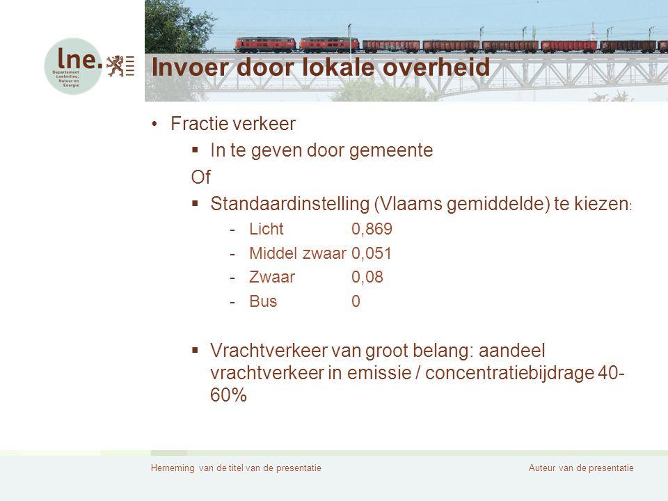 Herneming van de titel van de presentatieAuteur van de presentatie Invoer door lokale overheid •Snelheidstype  Stagnerend verkeer -Doorstroming verkeer wordt belemmerd -Gem.