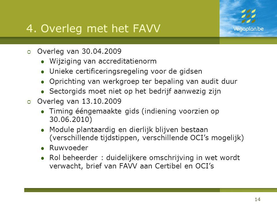 4. Overleg met het FAVV  Overleg van 30.04.2009  Wijziging van accreditatienorm  Unieke certificeringsregeling voor de gidsen  Oprichting van werk
