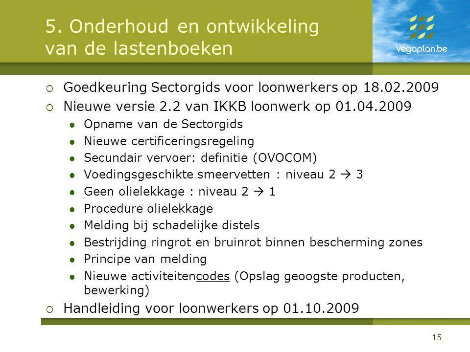 5. Onderhoud en ontwikkeling van de lastenboeken  Goedkeuring Sectorgids voor loonwerkers op 18.02.2009  Nieuwe versie 2.2 van IKKB loonwerk op 01.0