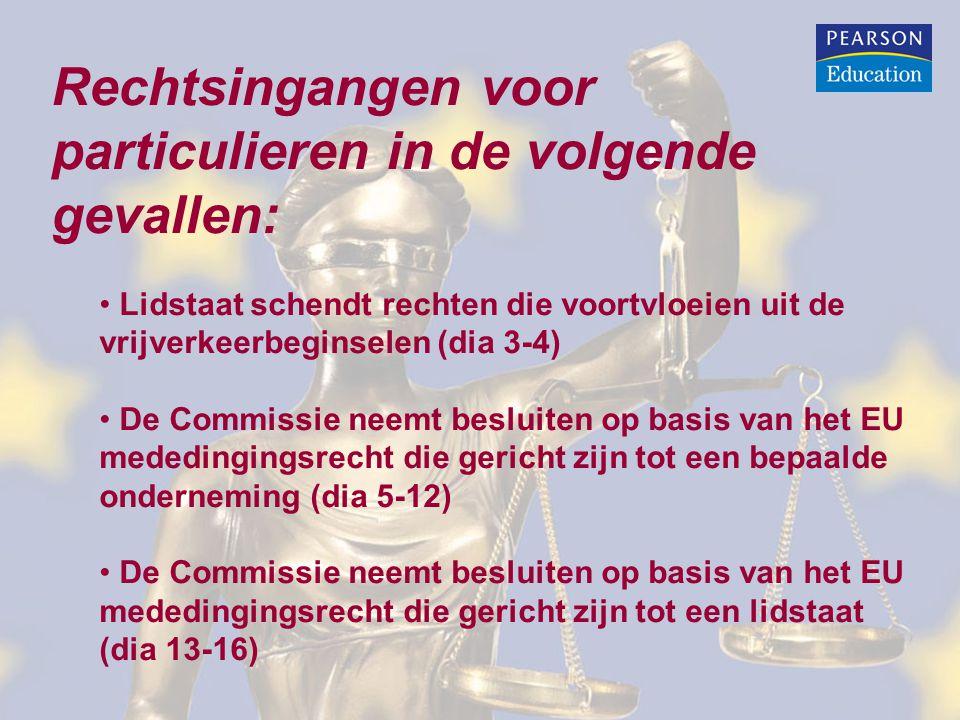 Lidstaat Nederland schendt vrijverkeerbeginselen ten nadele van Belgische onderneming: Artikelen 258 of 259 VWEU: • Het Belgische bedrijf kan een klacht indienen en hopen dat Commissie (of lidstaat België) een procedure begint tegen Nederland bij het EU-Hof.