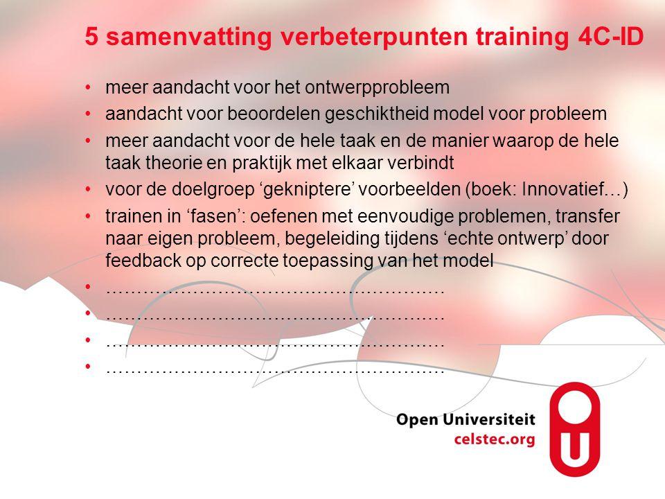 Visionen für die Betriebliche Weiterbildung page 15 5 samenvatting verbeterpunten training 4C-ID •meer aandacht voor het ontwerpprobleem •aandacht voo