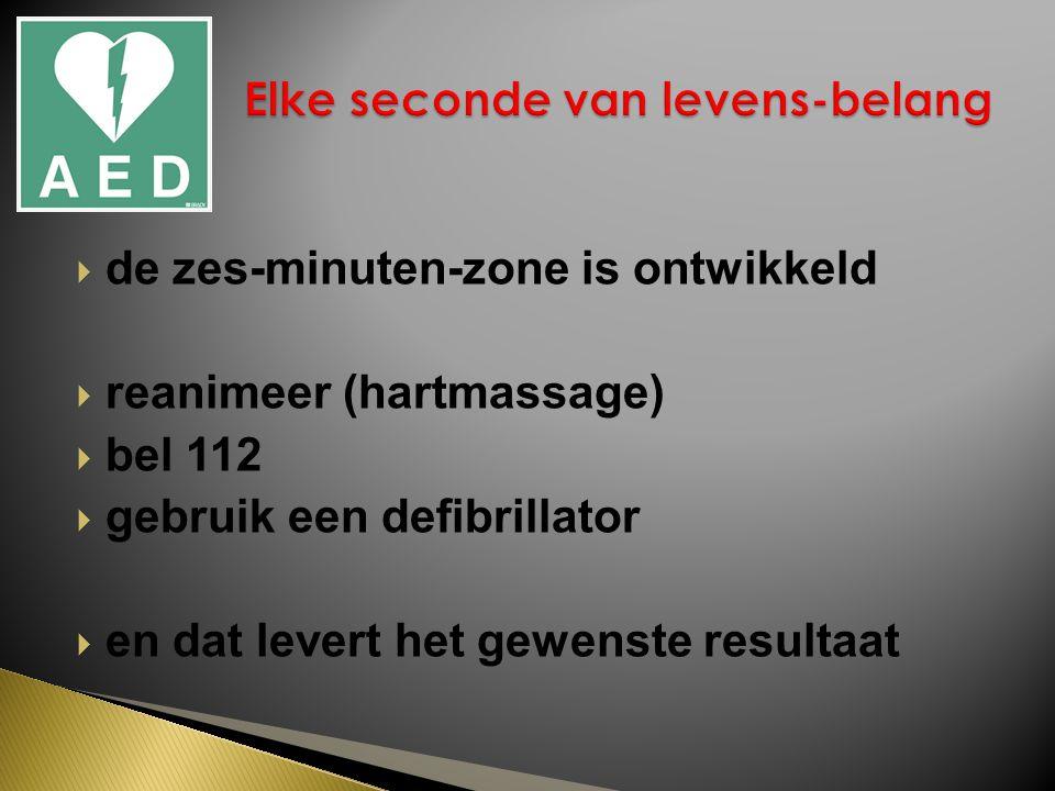  de zes-minuten-zone is ontwikkeld  reanimeer (hartmassage)  bel 112  gebruik een defibrillator  en dat levert het gewenste resultaat