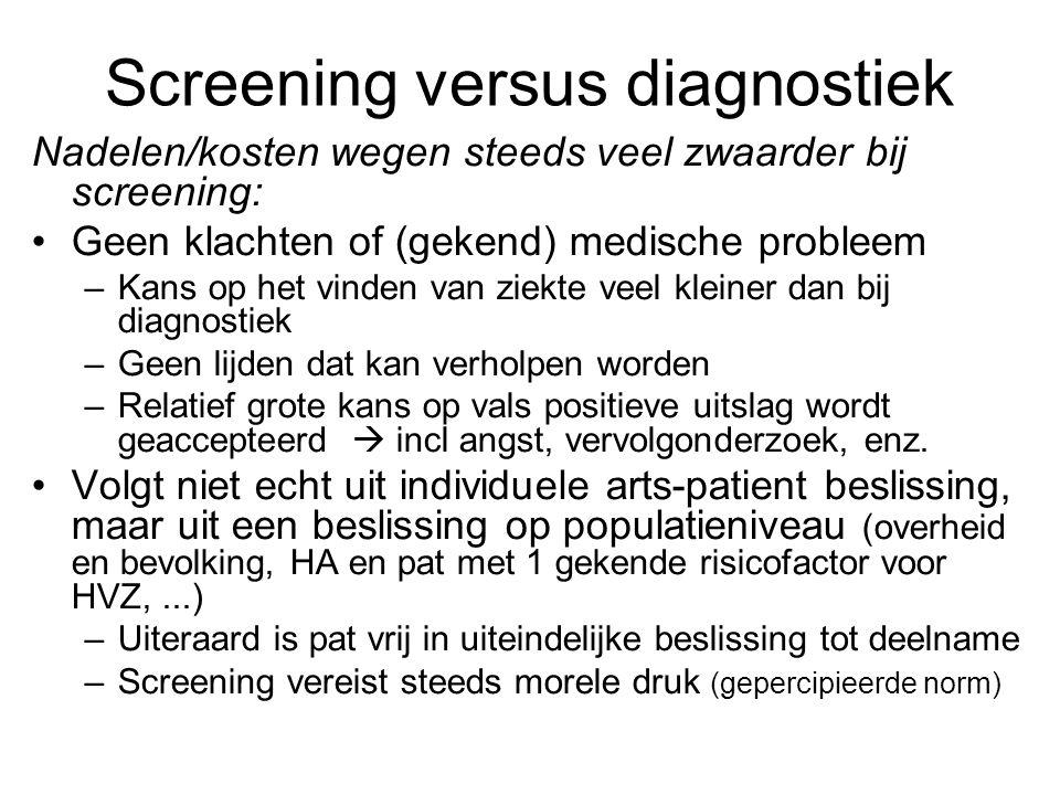 Screening versus diagnostiek Nadelen/kosten wegen steeds veel zwaarder bij screening: •Geen klachten of (gekend) medische probleem –Kans op het vinden