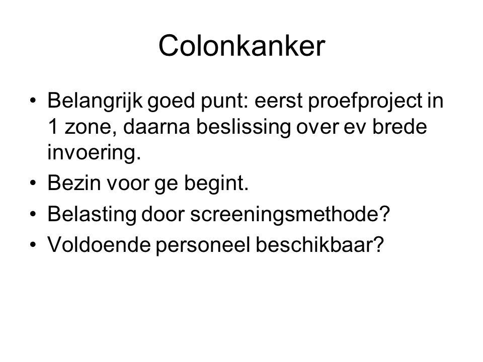 Colonkanker •Belangrijk goed punt: eerst proefproject in 1 zone, daarna beslissing over ev brede invoering. •Bezin voor ge begint. •Belasting door scr