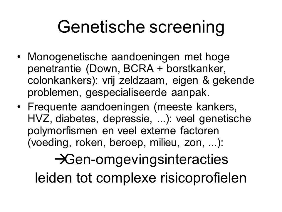 Genetische screening •Monogenetische aandoeningen met hoge penetrantie (Down, BCRA + borstkanker, colonkankers): vrij zeldzaam, eigen & gekende problemen, gespecialiseerde aanpak.