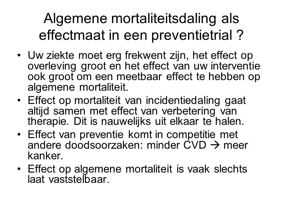 Algemene mortaliteitsdaling als effectmaat in een preventietrial ? •Uw ziekte moet erg frekwent zijn, het effect op overleving groot en het effect van