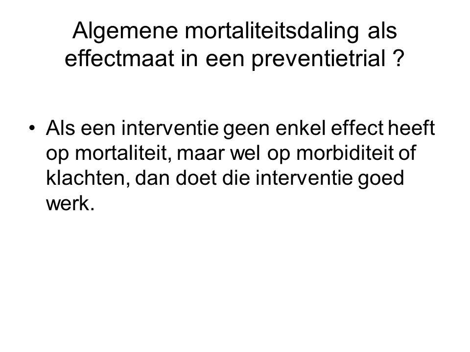Algemene mortaliteitsdaling als effectmaat in een preventietrial ? •Als een interventie geen enkel effect heeft op mortaliteit, maar wel op morbiditei
