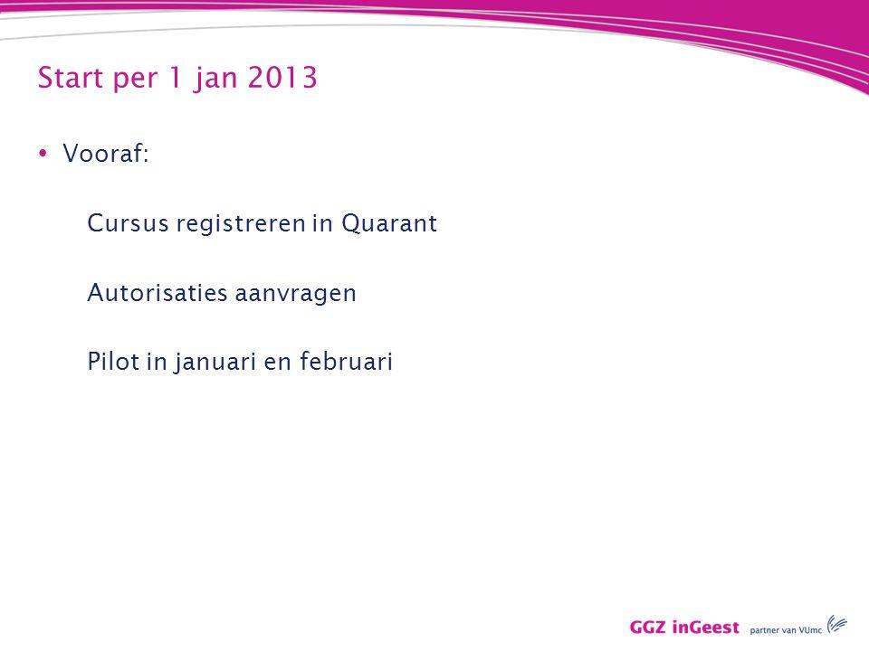 Start per 1 jan 2013  Vooraf: Cursus registreren in Quarant Autorisaties aanvragen Pilot in januari en februari