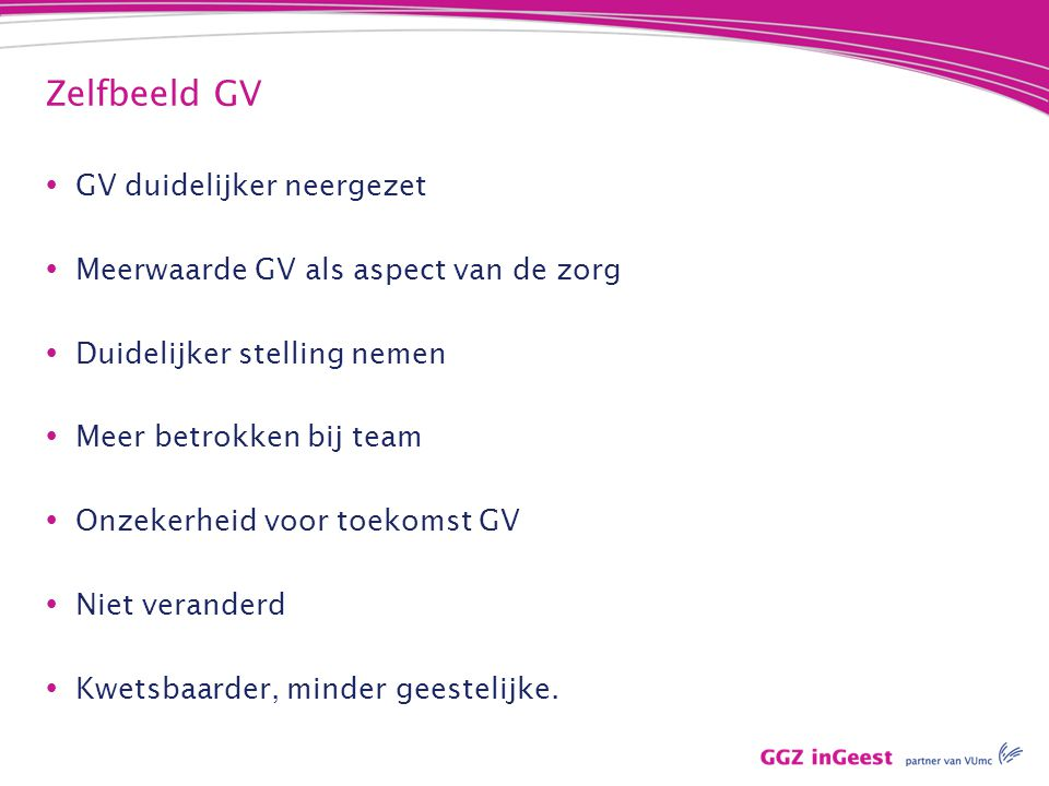 Zelfbeeld GV  GV duidelijker neergezet  Meerwaarde GV als aspect van de zorg  Duidelijker stelling nemen  Meer betrokken bij team  Onzekerheid vo