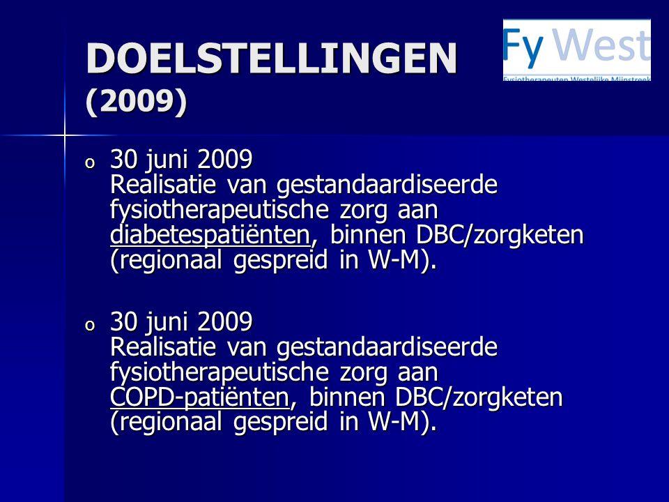 DOELSTELLINGEN (2009) o 30 juni 2009 Realisatie van gestandaardiseerde fysiotherapeutische zorg aan diabetespatiënten, binnen DBC/zorgketen (regionaal gespreid in W-M).