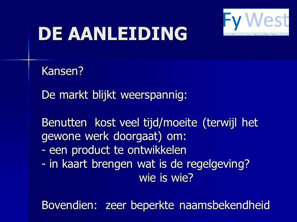 DE AANLEIDING Kansen.