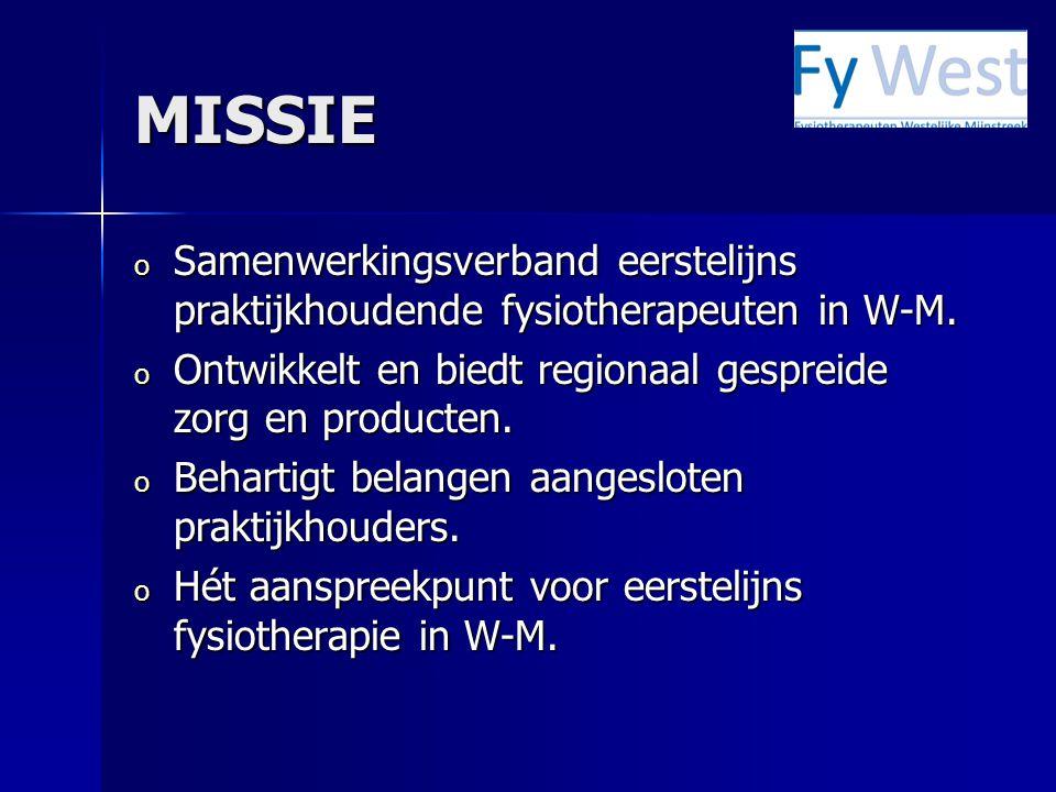 MISSIE o Samenwerkingsverband eerstelijns praktijkhoudende fysiotherapeuten in W-M.