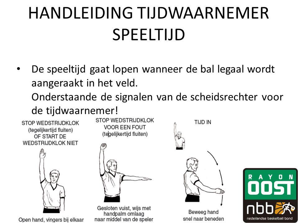 HANDLEIDING TIJDWAARNEMER SPEELTIJD • De speeltijd gaat lopen wanneer de bal legaal wordt aangeraakt in het veld. Onderstaande de signalen van de sche