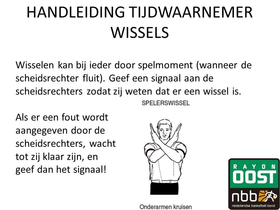 HANDLEIDING TIJDWAARNEMER WISSELS Wisselen kan bij ieder door spelmoment (wanneer de scheidsrechter fluit).
