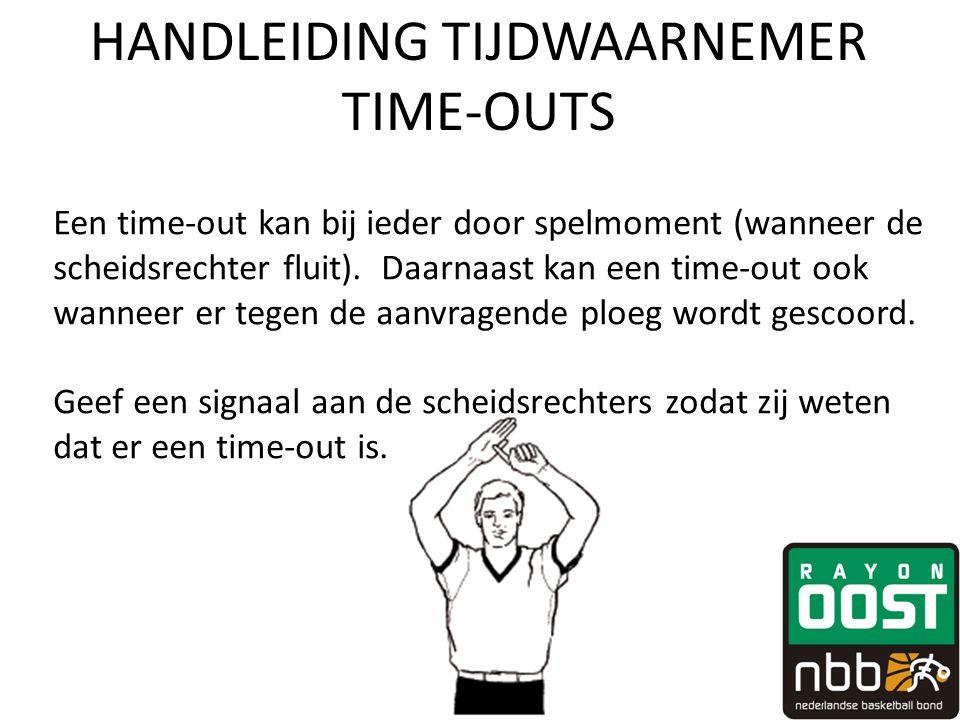 HANDLEIDING TIJDWAARNEMER TIME-OUTS Een time-out kan bij ieder door spelmoment (wanneer de scheidsrechter fluit). Daarnaast kan een time-out ook wanne
