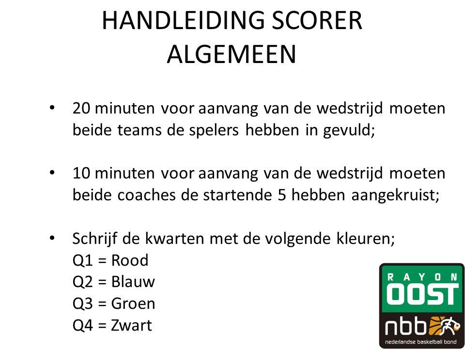 HANDLEIDING SCORER ALGEMEEN • 20 minuten voor aanvang van de wedstrijd moeten beide teams de spelers hebben in gevuld; • 10 minuten voor aanvang van de wedstrijd moeten beide coaches de startende 5 hebben aangekruist; • Schrijf de kwarten met de volgende kleuren; Q1 = Rood Q2 = Blauw Q3 = Groen Q4 = Zwart