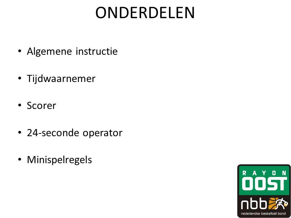 ONDERDELEN • Algemene instructie • Tijdwaarnemer • Scorer • 24-seconde operator • Minispelregels