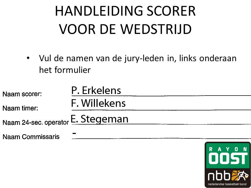 HANDLEIDING SCORER VOOR DE WEDSTRIJD • Vul de namen van de jury-leden in, links onderaan het formulier