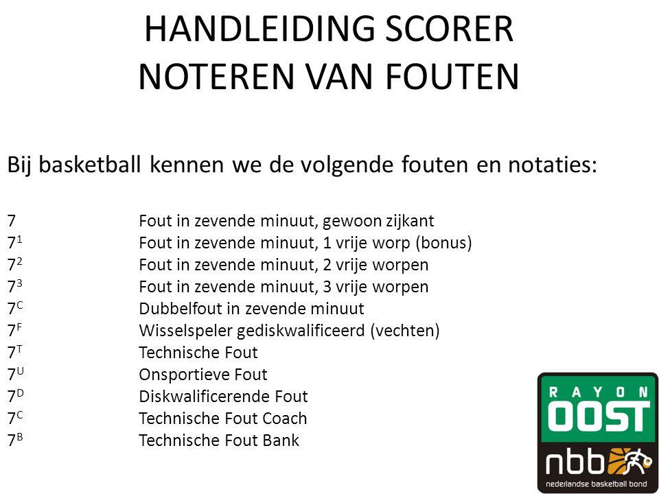 HANDLEIDING SCORER NOTEREN VAN FOUTEN Bij basketball kennen we de volgende fouten en notaties: 7Fout in zevende minuut, gewoon zijkant 7 1 Fout in zev