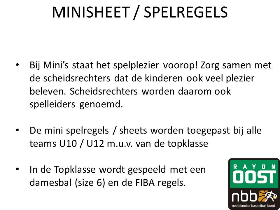MINISHEET / SPELREGELS • Bij Mini's staat het spelplezier voorop.