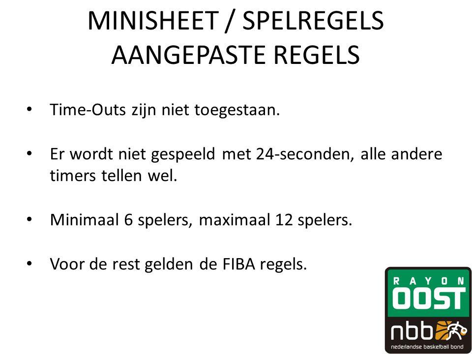 MINISHEET / SPELREGELS AANGEPASTE REGELS • Time-Outs zijn niet toegestaan. • Er wordt niet gespeeld met 24-seconden, alle andere timers tellen wel. •