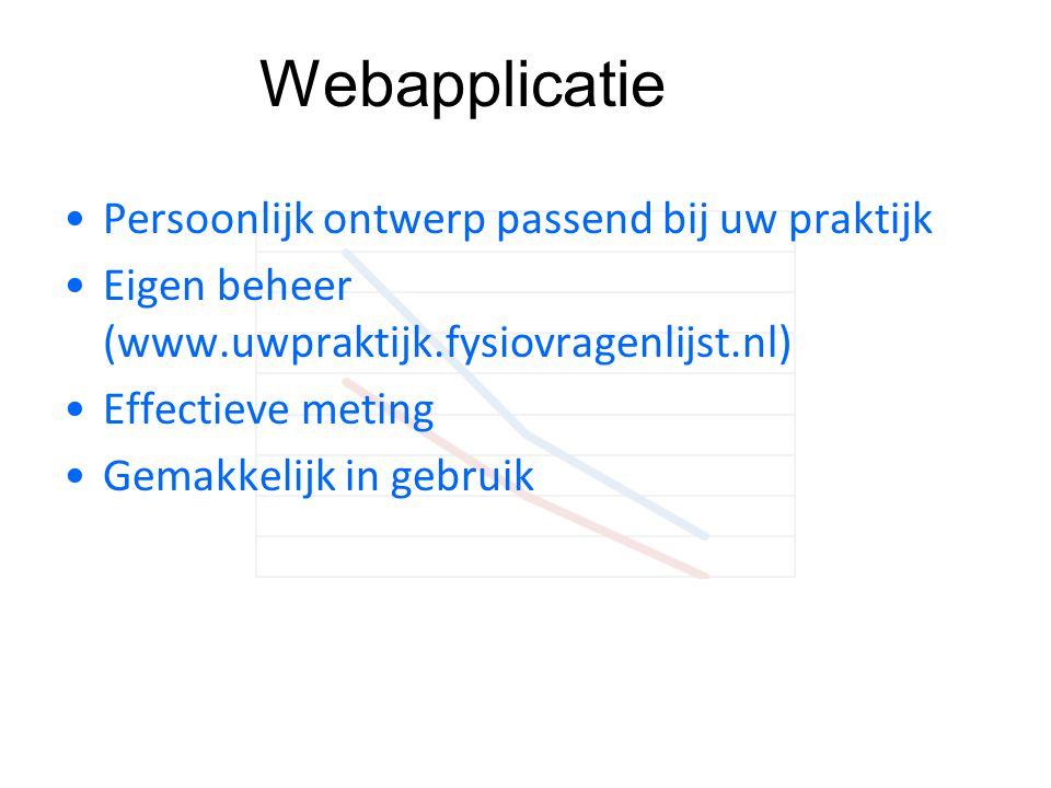 Webapplicatie •Persoonlijk ontwerp passend bij uw praktijk •Eigen beheer (www.uwpraktijk.fysiovragenlijst.nl) •Effectieve meting •Gemakkelijk in gebru