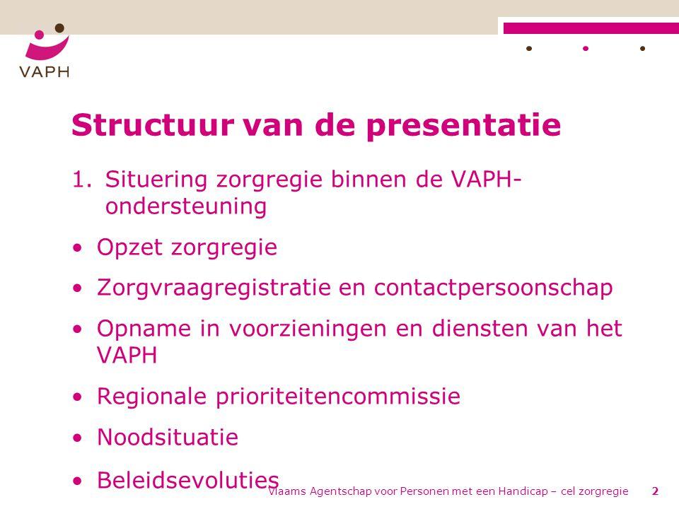 Vlaams Agentschap voor Personen met een Handicap – cel zorgregie2 Structuur van de presentatie 1.Situering zorgregie binnen de VAPH- ondersteuning •Op