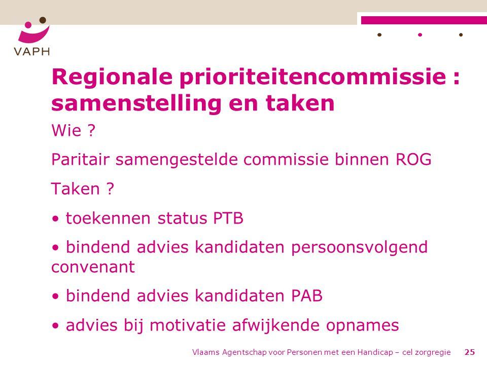 Vlaams Agentschap voor Personen met een Handicap – cel zorgregie25 Regionale prioriteitencommissie : samenstelling en taken Wie ? Paritair samengestel