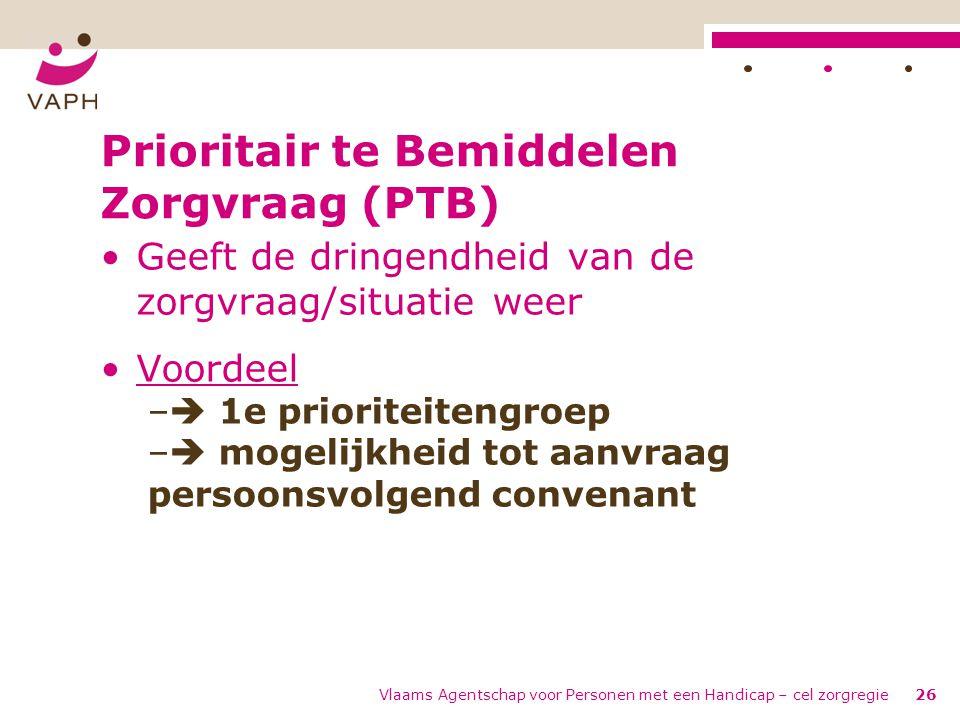Prioritair te Bemiddelen Zorgvraag (PTB) •Geeft de dringendheid van de zorgvraag/situatie weer •Voordeel –  1e prioriteitengroep –  mogelijkheid tot