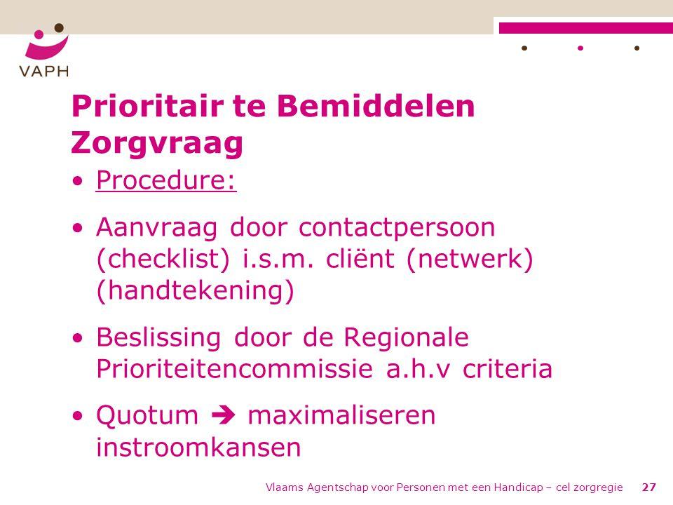 Prioritair te Bemiddelen Zorgvraag •Procedure: •Aanvraag door contactpersoon (checklist) i.s.m. cliënt (netwerk) (handtekening) •Beslissing door de Re