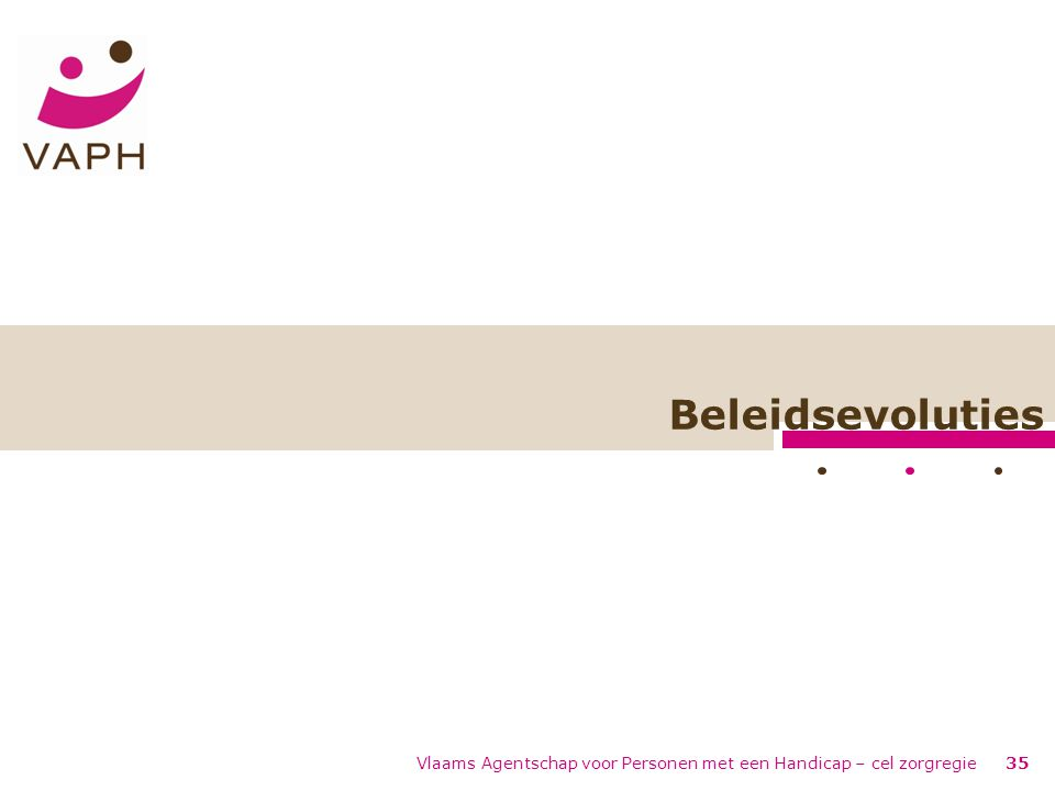 Beleidsevoluties Vlaams Agentschap voor Personen met een Handicap – cel zorgregie35